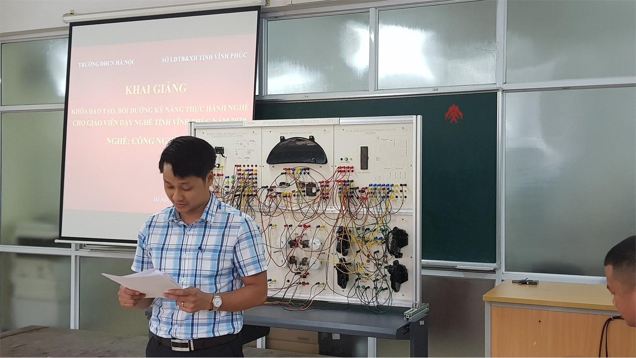Khai giảng lớp bồi dưỡng, đánh giá kỹ năng thực hành nghề nghiệp cho giáo viên dạy nghề tỉnh Vĩnh phúc năm 2020 ngành công nghệ ôtô